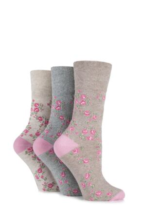 Ladies 3 Pair Gentle Grip Vintage Rose Cotton Socks Rose 4-8 Ladies