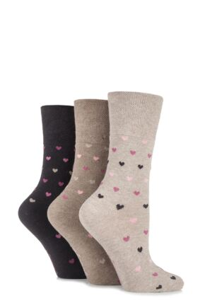 Ladies 3 Pair Gentle Grip Heart Patterned Cotton Socks