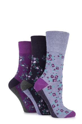 Ladies 3 Pair Gentle Grip Floral Cotton Socks Purple 4-8 Ladies