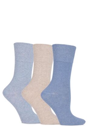 Ladies 3 Pair Gentle Grip Eva Plain Cotton Socks