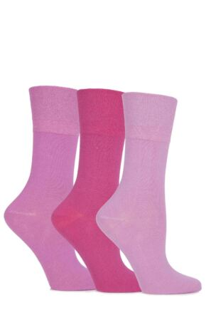 Ladies 3 Pair Gentle Grip Blossom Plain Cotton Socks Pink 4-8 Ladies