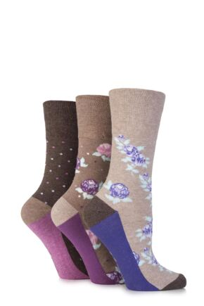 Ladies 3 Pair Gentle Grip Flora Flower Cotton Socks