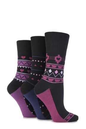 Ladies 3 Pair Gentle Grip Hermione Aztec and Heart Patterned Cotton Socks