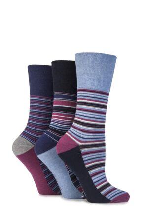 Ladies 3 Pair Gentle Grip Sarina Multi Striped Cotton Socks