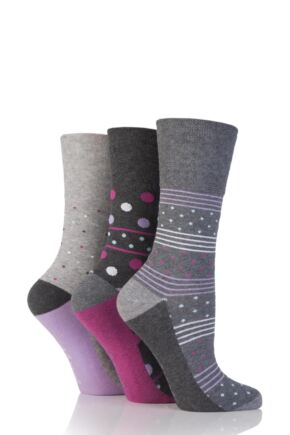 Ladies 3 Pair Gentle Grip Stacey Spotty and Striped Cotton Socks Grey 4-8 Ladies