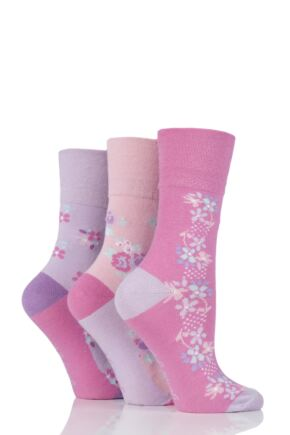Ladies 3 Pair Gentle Grip Elsie Floral Cotton Socks
