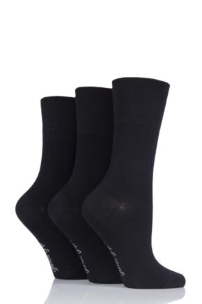 Ladies 3 Pair Gentle Grip Plain Bamboo Socks Black 4-8