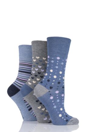 Ladies 3 Pair Gentle Grip Patterned Bamboo Socks