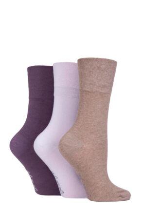 Ladies 3 Pair Gentle Grip Plain Cotton Socks Mauve / Lilac / Mocha 4-8 Ladies