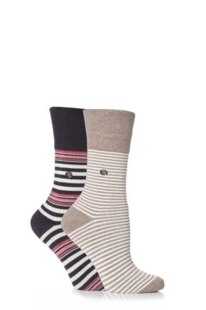 Ladies 2 Pair Gentle Grip Juliet Striped Cushioned Socks