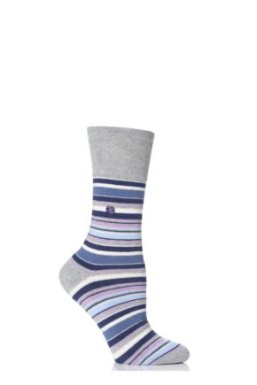 Ladies 1 Pair Gentle Grip Kate Striped Cushioned Socks