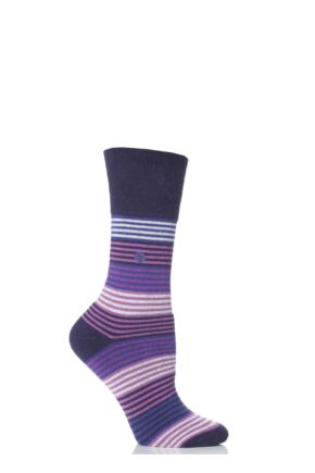 Ladies 1 Pair Gentle Grip Layla Striped Cushioned Socks