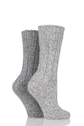 Ladies 2 Pair SockShop Ribbed Wool Boot Socks with Smooth Toe Seams Grey 4-8