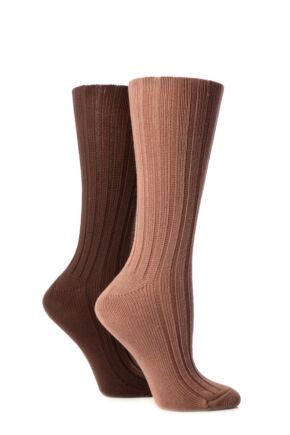 Ladies 2 Pair Jennifer Anderton Plain Ribbed Boot Socks