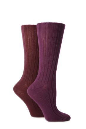 Ladies 2 Pair Jennifer Anderton Plain Ribbed Boot Socks Purple / Wine