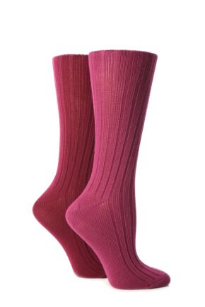 Ladies 2 Pair Jennifer Anderton Plain Ribbed Boot Socks Raspberry / Pink