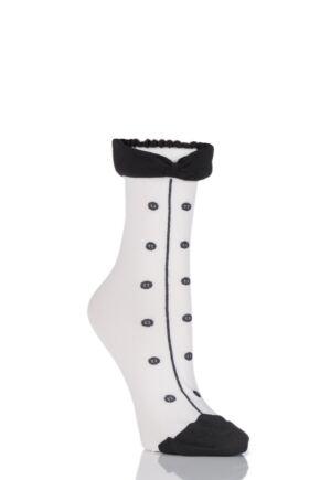 Ladies 1 Pair Trasparenze Sommerfugl Tuxedo Socks with Bow Tie White OS
