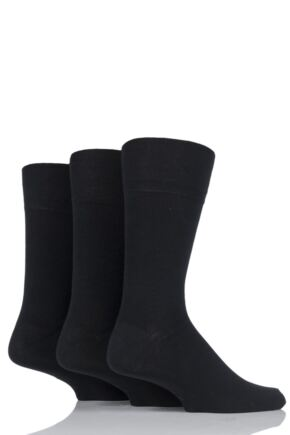 Mens 3 Pair Gentle Grip Plain Socks Black 12-14