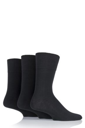 Mens 3 Pair Gentle Grip Diabetic Cotton Socks Black 6-11