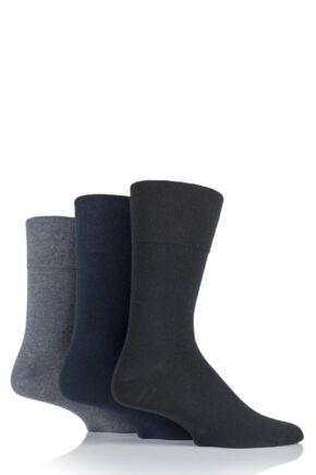 Mens 3 Pair Gentle Grip Diabetic Cotton Socks