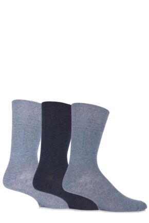 Mens 3 Pair Gentle Grip Plain Cotton Socks