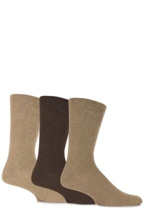 Mens 3 Pair Gentle Grip Plain Cotton Socks Browns 6-11