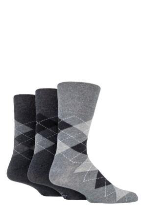 Mens 3 Pair Gentle Grip Argyle Cotton Socks