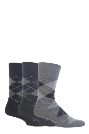 Mens 3 Pair Gentle Grip Argyle Cotton Socks