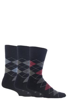 Mens 3 Pair Gentle Grip Argyle Cotton Socks Black 7-11
