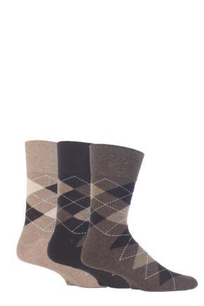 Mens 3 Pair Gentle Grip Argyle Cotton Socks Beige / Brown 6-11