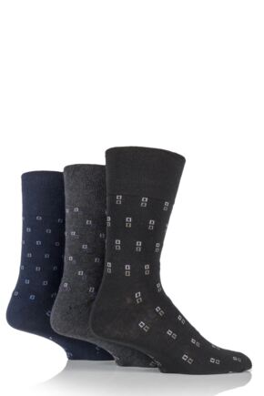 Mens 3 Pair Gentle Grip Micro Squared Cotton Socks