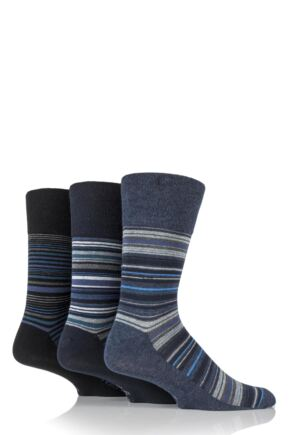 Mens 3 Pair Gentle Grip Striped Cotton Socks Blues 7-11