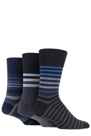 Mens 3 Pair Gentle Grip Argyle Patterned and Striped Socks