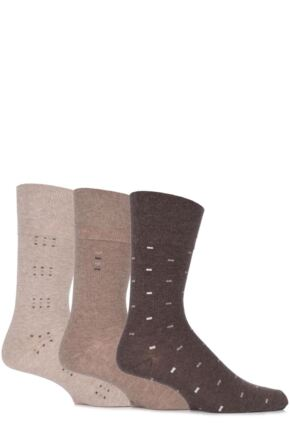 Mens 3 Pair Gentle Grip Dash Striped Cotton Socks