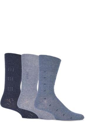 Mens 3 Pair Gentle Grip Dash Striped Cotton Socks