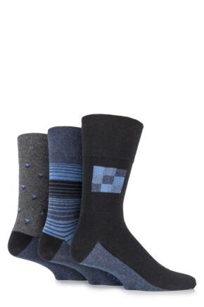 Mens 3 Pair Gentle Grip Carson Multi Patterned Cotton Socks