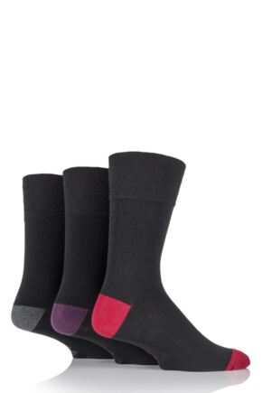 Mens 3 Pair Gentle Grip James Cotton Socks with Contrast Heel and Toe Red 6-11