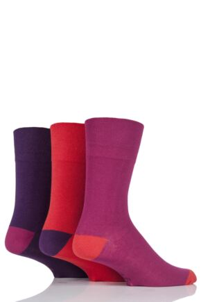Mens 3 Pair Gentle Grip Colour Burst Cotton Socks
