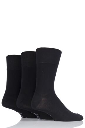 Mens 3 Pair Gentle Grip Plain Bamboo Socks Black 6-11