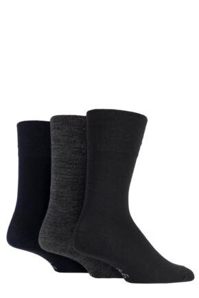 Mens 3 Pair Gentle Grip Plain Bamboo Socks