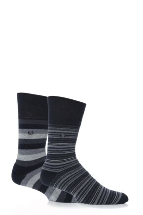 Mens 2 Pair Gentle Grip Monochrome Stripe Cushioned Socks Multi Coloured