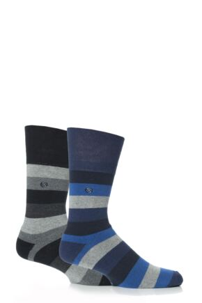 Mens 2 Pair Gentle Grip Bold Stripe Cushioned Socks Multi Coloured