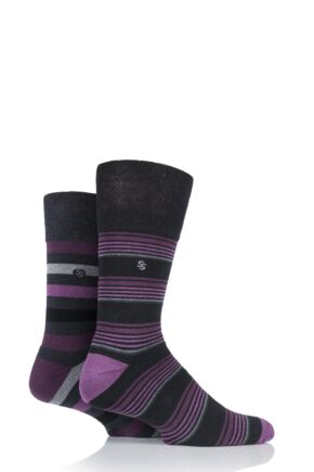 Mens 2 Pair Gentle Grip Multi Stripe Cushioned Socks Multi Coloured