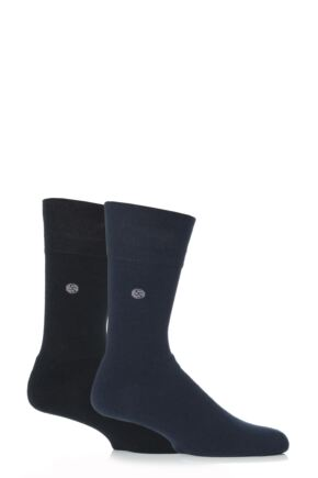 Mens 2 Pair Gentle Grip Plain Cushioned Socks In Black and Navy