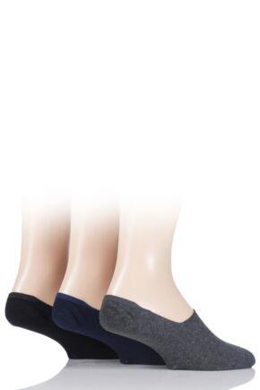 Mens 3 Pair Gentle Grip Cotton Invisible Socks