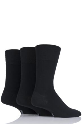 Mens 3 Pair Gentle Grip Plain Wool Socks Black 6-11