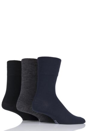 Mens 3 Pair Gentle Grip Plain Wool Socks