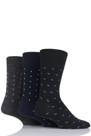 Mens 3 Pair Gentle Grip Patterned Wool Socks