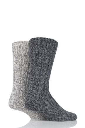 Mens 2 Pair SockShop Ribbed Wool Boot Socks with Smooth Toe Seams Grey 6-11