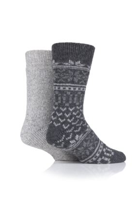 Mens 2 Pair SOCKSHOP Ribbed Wool Boot Socks with Smooth Toe Seams